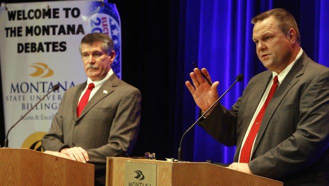 Montana Sen. Jon Tester, right, debates Rep. Denny Rehberg Oct. 8, 2012 in Billings.