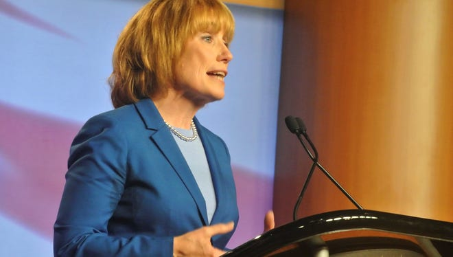 Gov. Maggie Hassan speaks as the Democratic candidate during a debate against Republican challenger Ovide Lamontagne on Nov. 1, 2012.