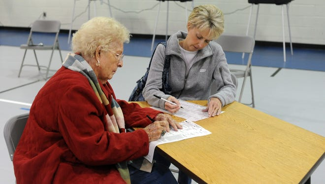 Rose Poole, left, and Rosie Cox cast their votes using paper ballots in Spartanburg, S.C., on Tuesday. Thirty-four states don't allow photos or filming of marked ballots.