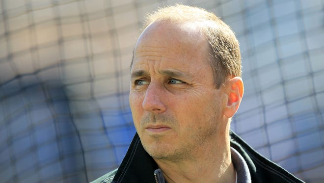 New York Yankees general manager Brian Cashman before game four of the 2012 ALCS against the Detroit Tigers at Comerica Park.