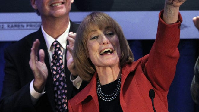 Maggie Hassan thanks supporters in Manchester, N.H., on Tuesday.