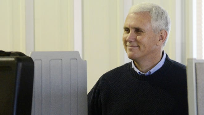 Mike Pence votes in Clifford, Ind., on Tuesday.