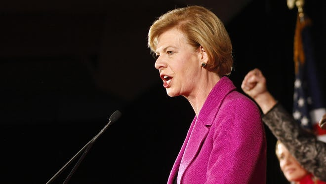 Democrat Tammy Baldwin makes her victory speech in Madison, Wis.