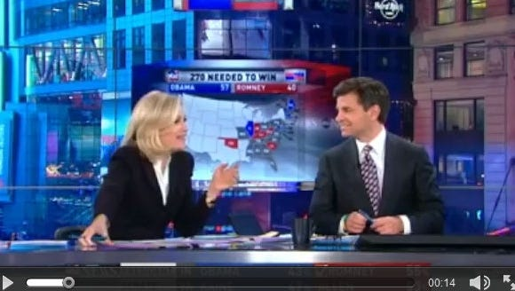 Diane Sawyer talks to George Stephanopoulos during ABC's election night coverage.