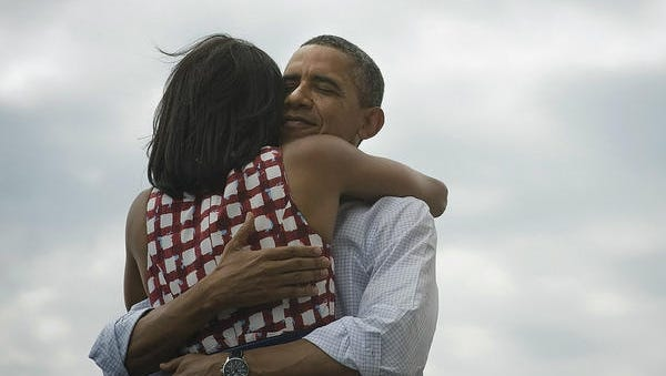 This photo went viral on election night with the phrase 'Four more years.'