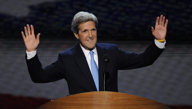 Sen. John Kerry, D-Mass., takes the podium at the Democratic National Convention earlier this year.