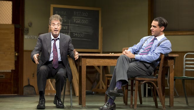 Al Pacino, left, and Bobby Cannavale in a scene from the Broadway revival of 'Glengarry Glen Ross.'
