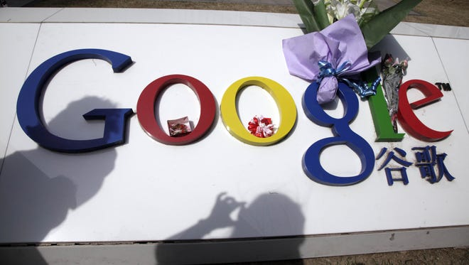 A photo from 2010 shows the Google logo outside Google China headquarters in Beijing.