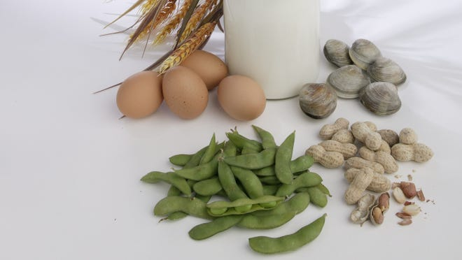 Wheat, milk, eggs, soy, peanuts and shellfish are common culprits of allergies.