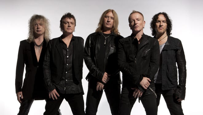 The members of Def Leppard, from left: bassist Rick Savage, drummer Rick Allen, vocalist Joe Elliott, guitarist Phil Collen and Vivian Campbell. The group will begin a residency at the Las Vegas Hard Rock Hotel and Casino on March 22, 2013.