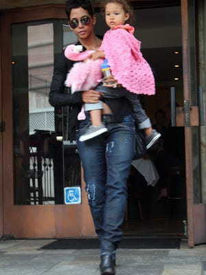 Halle Berry and Nahla Ariela Aubry leave the Barefoot Cafe on July 8, 2010 in Los Angeles.