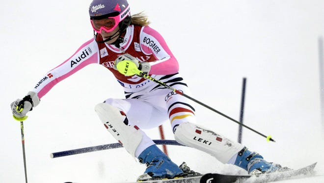 Maria Hoefl-Riesch of Germany competes during the first run of women's slalom as part of the FIS Alpine Ski World Cup held in Levi ,Finland on November 10, 2012. Hoefl-Riesch won the race.