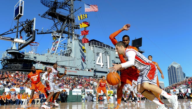 San Diego State Aztecs guard James Rahon dribbles out of the corner during the first half against the Syracuse Orange in the Battle on the Midway game onboard the USS Midway.