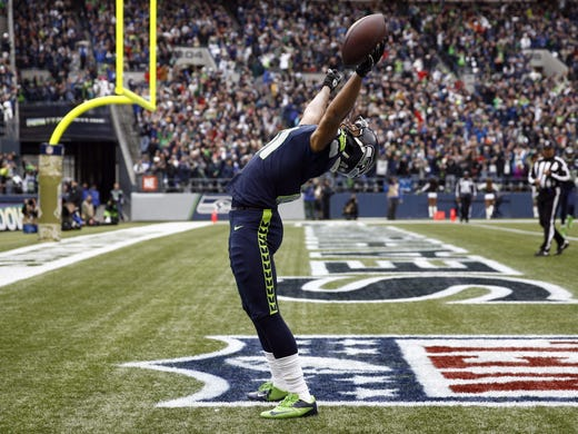 e775cc6d1b6 Seattle Seahawks wide receiver Golden Tate (81) celebrates a touchdown  reception against the New