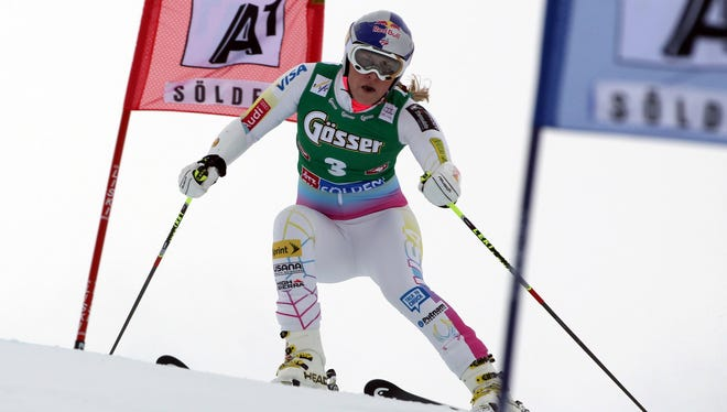 American Lindsey Vonn clears a gate during the first run of an Alpine women's World Cup giant slalom, in Soelden, Austria, on Oct. 27.