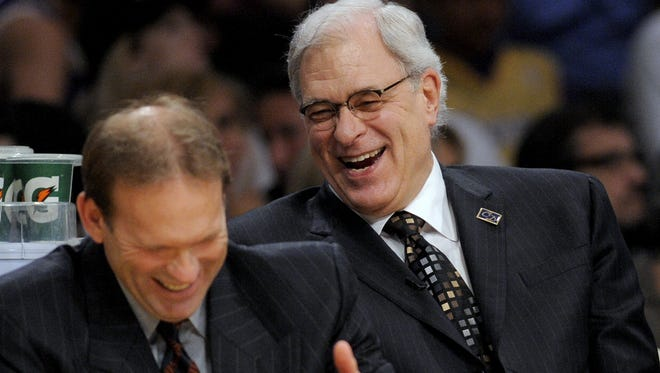 Kurt Rambis, left, was hoping to join Phil Jackson, right, back on the Los Angeles Lakers staff.