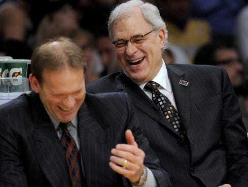 Kurt Rambis, left, was hoping to join Phil Jackson, right, back on the