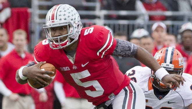 Ohio State quarterback Braxton Miller (5) is Heisman Trophy candidate, which makes him one of the only Buckeyes who has a chance to appear in college football's postseason. But Miller and his teammates remain in position to become the sixth unbeaten team in Buckeyes history.