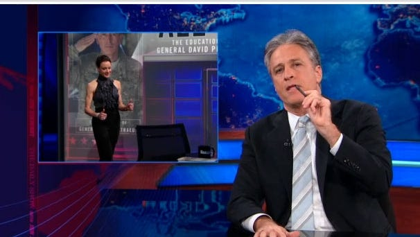 Jon Stewart tackles the Broadwell-Petraeus scandal on Monday's 'Daily Show' on Comedy Central.