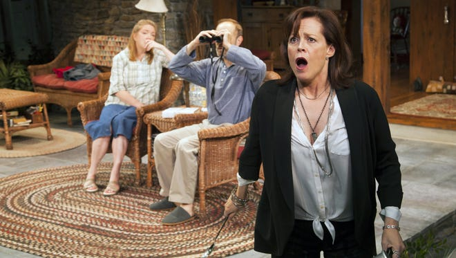 Sigourney Weaver, right, reacts during a scene from 'Vanya and Sonia and Masha and Spike,' at the Mitzi E. Newhouse Theater in New York.