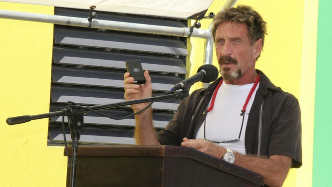 Software company founder John McAfee, who is wanted for questioning in a shooting death in Belize, spoke last week at the official presentation of equipment ceremony that took place at the San Pedro Police Station in Belize.