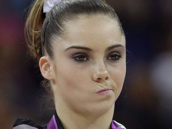 U.S. gymnast McKayla Maroney makes a face during the podium ceremony for the ...