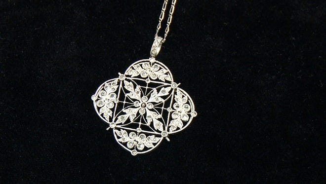 A platinum and diamond necklace recovered from the Titanic that will go on display in Atlanta on Nov. 16, 2012.