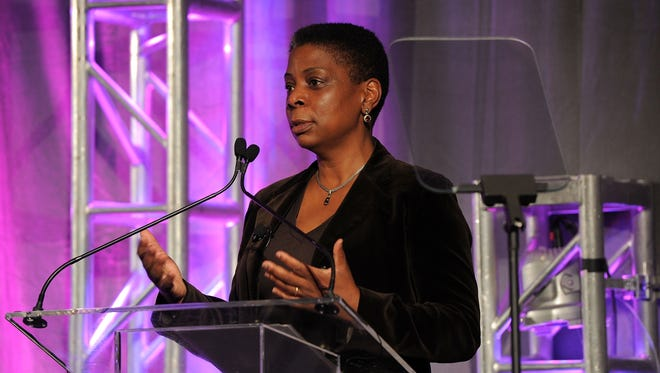 Ursula Burns, chairman and CEO of Xerox speaks at a conference for women business leaders in October 2011.