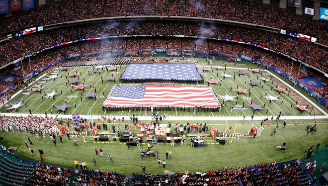 A general view during the national anthem before the Allstate Sugar Bowl between the Arkansas Razorbacks and the Ohio State Buckeyes at the Louisiana Superdome on January 4, 2011 in New Orleans, Louisiana.