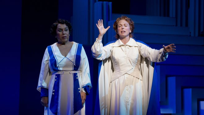 Roz Ryan, left, as Emma Joe Schaeffer and Carolee Carmello as Aimee Semple McPherson in the new Broadway musical 'Scandalous: The Life and Trials of Aimee Semple McPherson.'