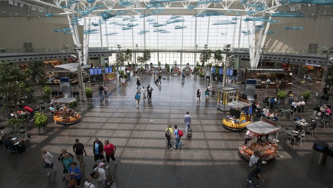 The main concourse area, containing a large food court, at the Indianapolis International Airport.