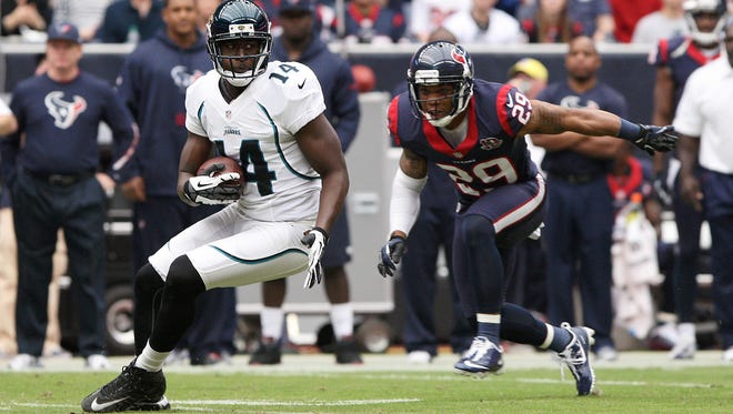 Jaguars receiver Justin Blackmon, making a catch in front of Houston defensive back Glover Quin, could be a top target after his 236-yard explosion against the Texans.