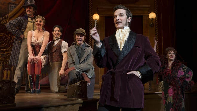 From left, Eric Sciotto, Shannon Lewis, Kyle Coffman, Nicholas Barasch, Will Chase and Chita Rivera in a scene from 'The Mystery of Edwin Drood'.