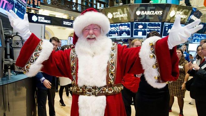 Santa visits the trading floor of the New York Stock Exchange Nov. 21, 2012.