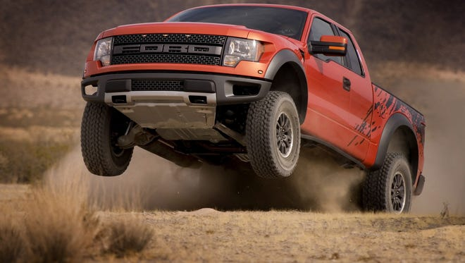 A Ford F-150 SVT Raptor taps into the off-road enthusiast market, both the desert and the ice and snow.