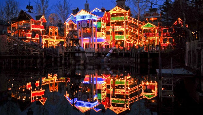 Silver Dollar City in Branson, Mo., puts a razzle-dazzle spin on an old-fashioned Christmas with, literally, millions of lights.