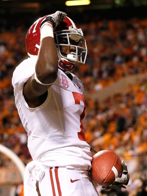 Kenny Bell of the Alabama Crimson Tide reacts after scoring a touchdown against the Tennessee Volunteers at Neyland Stadium on Oct. 20, 2012, in Knoxville, Tennessee.