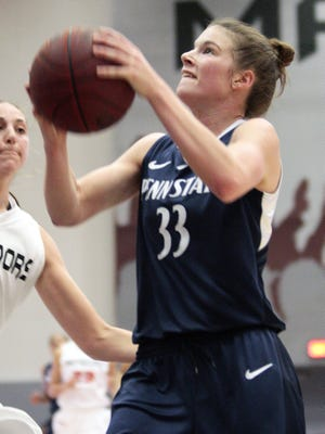 Penn State guard Maggie Lucas (33) shoots against Cal State Northridge's Camille Mahlknecht during the first half of their NCAA college basketball game in the Radisson Hotel Chatsworth Thanksgiving Tournament, Saturday, Nov. 24, 2012, in Northridge, Calif.