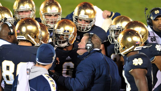 Notre Dame Fighting Irish head coach Brian Kelly and the Irish are ranked No. 1 and could get a shot at a national title with a win over USC Saturday.
