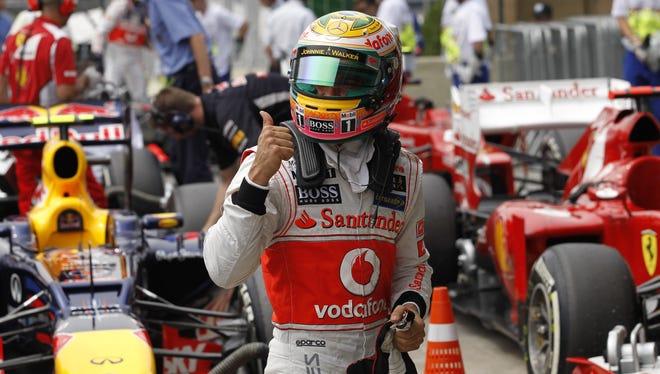 McLaren Mercedes driver Lewis Hamilton won the Brazilian Grand Prix qualifying.