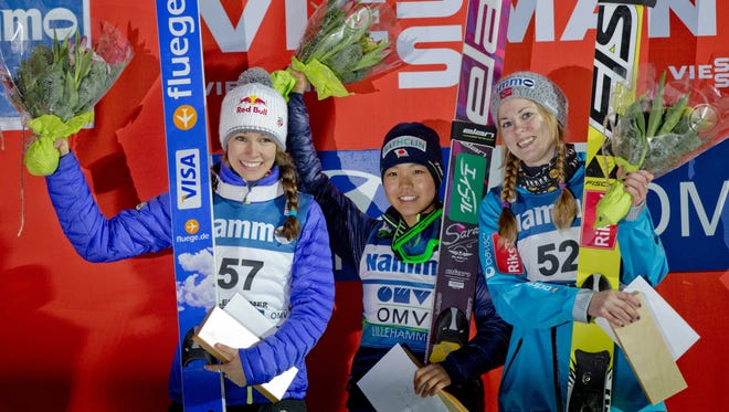 U.S. ski jumper Sarah Hendrickson (left) poses on the podium next to  Japan's Sara Takanashi  and Anette Sagen of Norway after the women's World Cup  ski jumping event  in the Lysgard Ski Arena in Lillehammer, Norway, on Saturday. Takanashi won the event.