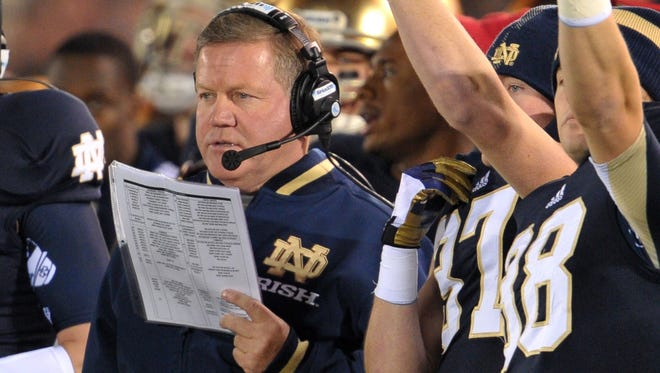 Notre Dame coach Brian Kelly doesn't sound worried about the stakes for his team today at USC because, he says, pressure comes with the territory at Notre Dame.