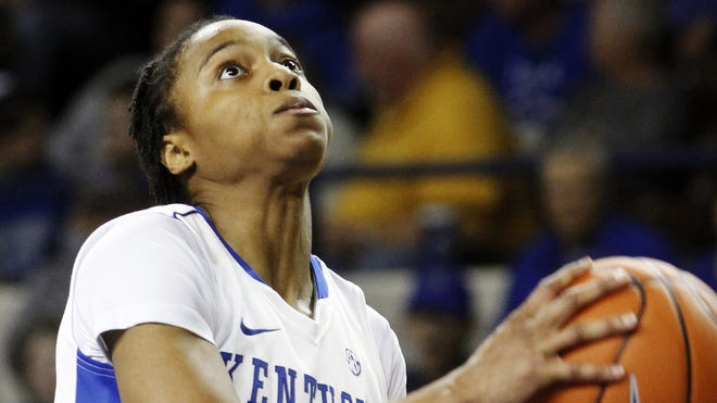 Kentucky's A'dia Mathies drives to the basket during the second half of an NCAA college basketball game against South Carolina Upstate at Memorial Coliseum in Lexington, Ky., Sunday, Nov. 25, 2012. Kentucky won 100-34.