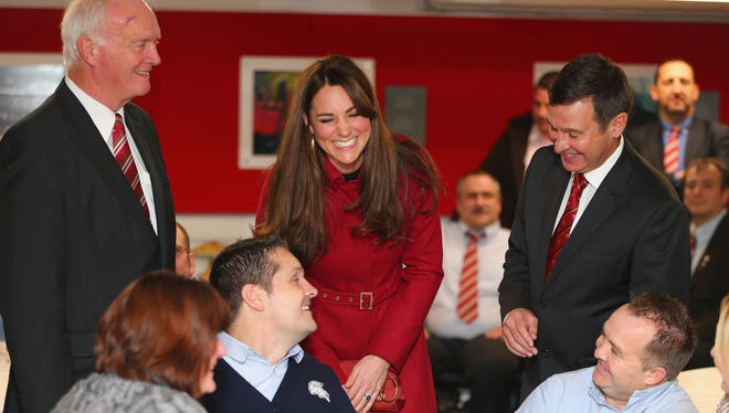 Britain's Duchess of Cambridge attends a reception for the Welsh Rugby Charitable Trust, which supports injured rugby players.