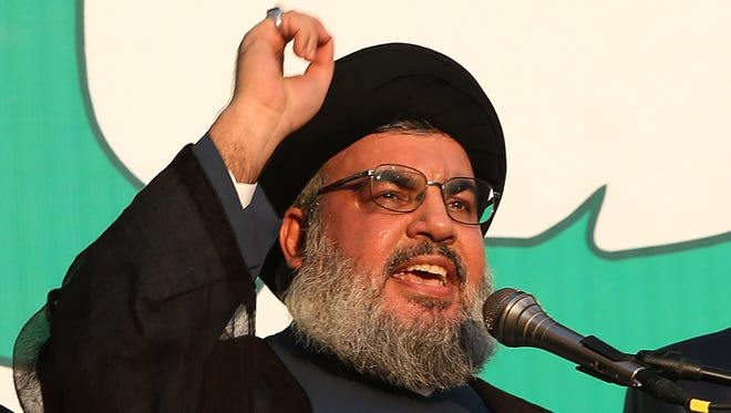 Hezbollah leader Sheik Hassan Nasrallah speaks to his supporters in a southern suburb of Beirut on Sept. 17.