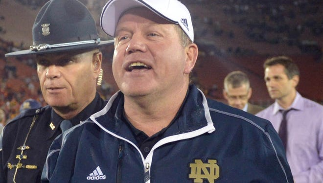 In his third season at Notre Dame, coach Brian Kelly is on track to continue a historical oddity with a national title.
