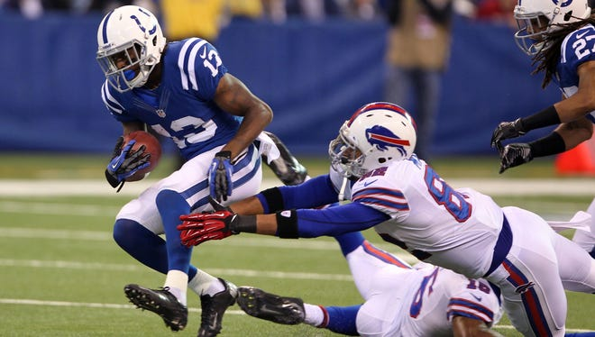 The Bills had little success getting a grasp on Colts rookie T.Y. Hilton (13) on Sunday.