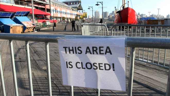 Barricades close off a section of New York's South Street Seaport on Nov. 23.
