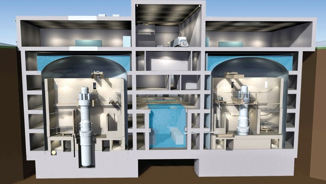 This conceptual drawing shows the underground containment structure for two small modular reactors by Babcock & Wilcox, each generating 180 megawatts of power.