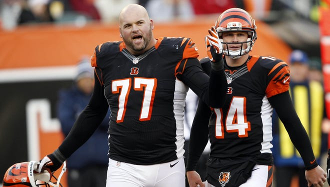 Bengals LT Andrew Whitworth (77) is clearly committed to protecting QB Andy Dalton.